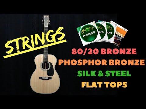 """Acoustic Guitar """"String"""" Comparison - 80/20 vs Phosphor Bronze vs Silk & Steel vs Flat Tops"""