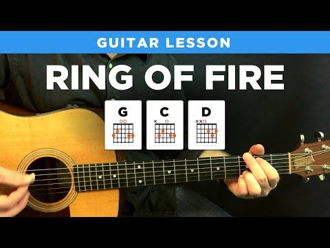 🎸 Ring of Fire • Johnny Cash guitar lesson w/ tabs (easy)