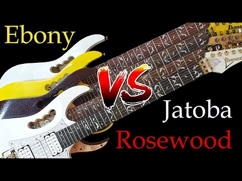 ROSEWOOD vs JATOBA vs EBONY fretboard visual comparison - Ibanez Jems
