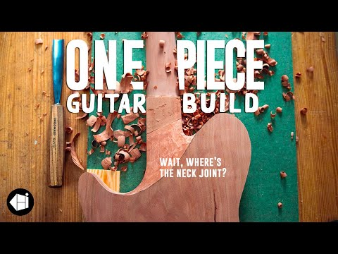 I cut and carved a guitar out of ONE SINGLE WOOD SLAB - full build, no talking