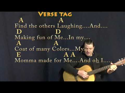 Coat of Many Colors (Dolly Parton) Strum Guitar Cover Lesson in G & A with Chords/Lyrics
