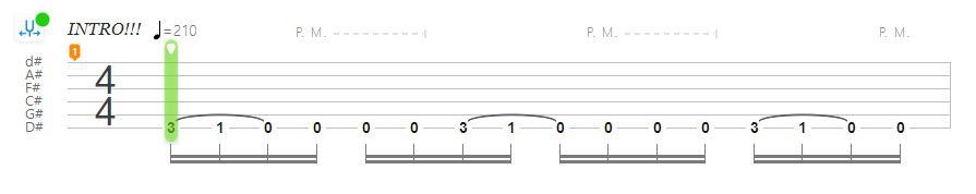 Interactive Guitar Tabs example